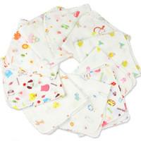 мягкие банные полотенца для новорожденных оптовых-8Pcs/lot Newborn Baby Bath Towels Cotton Gauze Flower Print Baby Towels Soft Water Absorption Care Towel