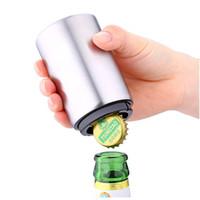kapak türleri toptan satış-Manyetik Otomatik Bira Şişe Kapağı Açacağı Paslanmaz Çelik Basın Tipi Bira Şarap Açacakları Mutfak Alet Araçlar