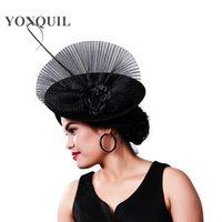 parti başörtüsü örtüsü toptan satış-Şık Noktalı Mesh Gelin Düğün Şapka Ve Kadın Parti Tüy Veil Headdress Vintage TOCADOS Sombreros Bodas MD16013 için Fascinators