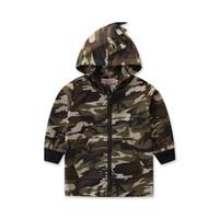 erkek dinozor ceketi toptan satış-İlkbahar Sonbahar Kamuflaj Uzun Kollu Çocuklar Ince Ceket Rahat Kabanlar Palto Boys Çocuk Bebek Kapşonlu Dinozor Çocuk Giyim