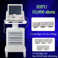 Wholesale ultrasound instruments - hifu cartridge body slimming hifu ultrasound For face and body Ultrasonic Facial Beauty Instrument 5 hifu cartridges with 10000 shots
