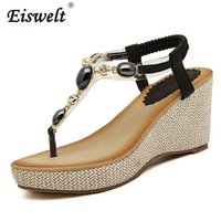 Wholesale Platform Flip Flops Men - Eiswelt Summer Women Sandals Gladiator Bohemia High Platform Wedges Beach Sandal Flip Flops Casual Shoes#ZQS011