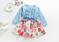 Wholesale girls pleated denim skirt online - Long sleeve baby girls denim dress new autumn girl s floral skirts with bow children boutique clothing