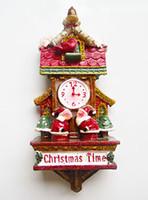 nevera de navidad magnética al por mayor-Vintage American Year Christmas Santa Clock Fridge Magnets Gift Creative 3D Magnetic Stickers Home Decor Imán de nevera