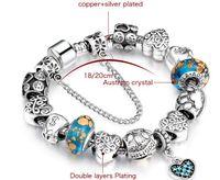 roses roses roses achat en gros de-Diamants de luxe pendentifs de coeur de coeur pendentifs plaqués par argent 925 plaqués en argent de perles de verre de Murano dans des couleurs rouges, roses et bleues avec 20cm