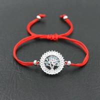 rote fadenkristalle großhandel-Armbänder für Frauen Paare Schmuck Crystal Blue Zircon Baum des Lebens in der Mitte und Border of CZ Red Thread String Charme