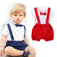 Wholesale Baby Rompers Navy - Fashion 2018 Boys Clothes Summer Short sleeve shirt Rompers + suspender shorts pants 2 pieces baby fashiong clothing set Red Navy Blue A8144