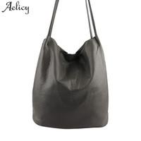 Wholesale lady gray handbags resale online - Aelicy Luxury PU Leather Women Handbags Gray Bucket Shoulder Bags Large Capacity Ladies Shopping Bag Crossbody Bags For Women