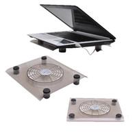 cojín de enfriamiento del ventilador del refrigerador al por mayor-Negro 12 pulgadas USB 2.0 Plug Notebook PC portátil Refrigeración Silent Fan Cooler Pad Clear