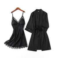 sexy weiblich zuhause dressing groihandel-Sexy schwarze weibliche Nachtwäsche Set Sommer Eis Seide NightyRobe Anzug Casual Kimono Bademantel Nachthemd Mini Home Dressing Gown