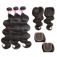 Wholesale bundled weave part closure for sale - Group buy body brazilian virgin human hair top lace closure middle free part x4 with cheap bundle human hair weave inch