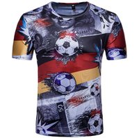 Wholesale flag football shirts - Football Flag Printing Crew Neck T-Shirt Men Fashion New Summer Tops Size M-2XL