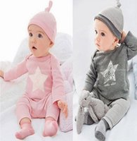 Wholesale Kid Girl Clothing Model - kids pajamas cotton bebes baby boy girl clothes set ,star model has + suit +pants 3peice of set pijama infantil robe newborn