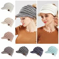 Wholesale child knitting - CC Beanies Winter Woolen Knitted Cap Casual Unisex Multi Colors Optional For Women Children Warm Hat 20pcs NNA345
