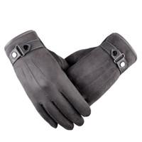 kışlık deri sürüş eldiven erkek toptan satış-Erkekler Dokunmatik Ekran Eldiven Sonbahar Kış Artı Kaşmir Kalın Sıcak Eldivenler Deri Polar Astarlı Termal Erkek Sürüş Eldiven Mitaine