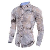 uzun bluzlar çin toptan satış-Yenilik Boya Çiçek Baskı Erkek Gömlek Çin Tarzı Sanat Çiçek Uzun Gömlek Beyefendi Zarif Parti Bluz Erkekler 2018 Yeni Ofis Tops