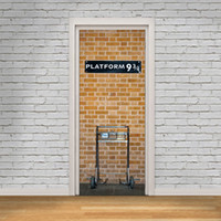 Wholesale black white 3d wallpaper - Brick Wall with White Door Frame Wall Stickers Home Decor Platform 93 4 Self-adhesive Wallpaper Mural Poster Renovate Door Wall Decals