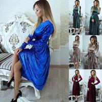 bodycon abendkleider großhandel-Samt Langarm Maxi Kleid Frauen Winter Maxi Kleid Kleid Abend Party Abendessen Lange Bodycon Kleider 4 Farben OOA4038