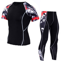 Wholesale plus size exercise clothes for sale - Group buy YANQIN Gyms Compression Clothing Sets Short Sleeve Tees Fitness Leggings Trendy Print Suits Training Exercise Sets Plus Size XL
