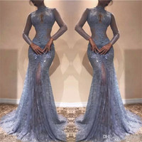 Wholesale see lace black prom dress resale online - Gorgeous Zuhair Murad Full Lace Evening Dresses High Neck Mermaid Illusion Long Sleeves See Through Prom Dresses Lavender Party Dress