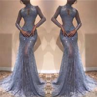 voll durch das kleid sehen großhandel-Wunderschöne Zuhair Murad Volle Spitze Abendkleider 2018 High Neck Mermaid Illusion Lange Ärmel Durchsichtig Prom Kleider Lavendel Partykleid