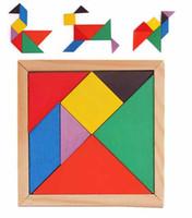yapboz ahşap tangram toptan satış-Çocuk Çocuk Eğitim Tangram Şekli Ahşap Bulmaca Oyuncak Mini Ahşap Oyuncaklar Marka Blokları Tutucu Renkli Tangram