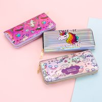 Wholesale womens wallets for sale - 3styles women Unicorn laser Long Wallet Print Coin Purse Womens Wallet Card Holder Holographic Phone Clutch FFA455