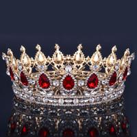 accesorios para el cabello princesa al por mayor-Corona nupcial de lujo Rhinestone Cristales Coronas de boda real Princesa Cristal Accesorios para el cabello Fiesta de cumpleaños Tiaras Quinceaner dulce 16