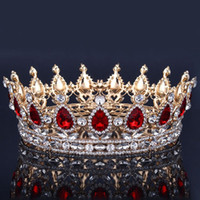 doğum günü saç toptan satış-Lüks Gelin Taç Rhinestone Kristaller Kraliyet Düğün Taçlar Prenses Kristal Saç Aksesuarları Doğum Günü Partisi Tiaras Quinceaner Tatlı 16