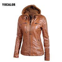 Wholesale leather bolero - 2017 Autumn Zipper Leather Hooded Basic Oversized Jacket Women Loose Casaco Feminino Coat Bolero Outerwear Veste Motorcycle Hood