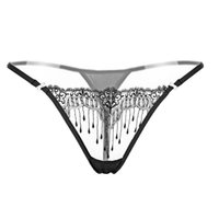 Wholesale see through underwear for women resale online - Sexy Women Underwear Lace Briefs Erotic Floral Embroidery T back See Through Mesh Transparent Briefs Underwear for Women