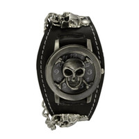 Wholesale Synthetic Leather For Bracelets - Punk Style Chain Skull Band Gothic Wrist Watch for Men Synthetic Leather Stainless Steel Sport Quartz Watches Bracelet Cuff