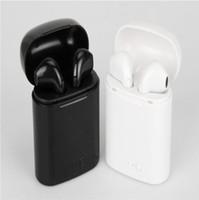 ingrosso mini cuffie stereo senza fili del bluetooth-1 pz I7 I8 TWS Twins Auricolari Bluetooth Mini Auricolari wireless Cuffie con microfono Stereo V4.2 Cuffie per Iphone Samsung Sport in esecuzione