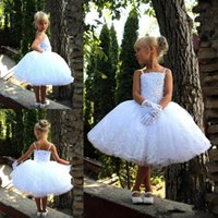 Wholesale hot toddler pageant dresses resale online - Hot Newest White Toddler Flower Girl Dresses For Wedding Knee Length Beaded Girl Pageant Dresses