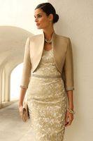 champagner-hochzeitskleid zubehör großhandel-Lange Ärmel Bridal Wraps Boleros Champagner Hochzeit Jacken Braut mit Kristall auf Ärmeln Bridal Accessories Free Shipping Dress