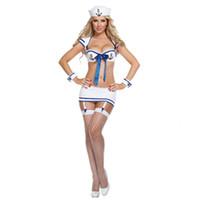 sıcak donanma kıyafeti toptan satış-Sıcak Kadınlar Beyaz Seksi Üniforma Kız Donanma Sailor Suits Üst + Mini Etek Cosplay Kostümler Seksi Iç Çamaşırı Seti Kıyafet