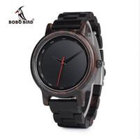 Wholesale Custom Logo Watches - BOBO BIRD Male High Quality wrist Watch Bamboo Wooden Watches Men in gift box custom logo erkek kol saati