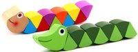 bebek oyuncakları oyunları toptan satış-Solucan Renkli Ahşap Didaktik Bulmacalar Çocuk Öğrenme Eğitim Bebek Gelişimi Oyuncaklar Parmaklar Oyunu Çocuklar için Hediye