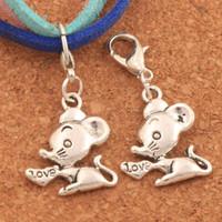 souris d'amour achat en gros de-100pcs / lot coeur amour souris souris homard pince à griffes perles de charme 16.5x33.8mm argent antique bijoux bricolage c183