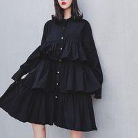 roupas para grossas mulheres negras venda por atacado-Plus Grosso Camisa Preta Vestidos Femininos Manga Comprida Na Altura Do Joelho Babados Vestido Para As Mulheres Moda Roupas 2019 Outono