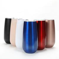 стаканы для очков оптовых-6oz яйцо чашки бокалы бокалы для вина stemless флейта чашки двойная стена из нержавеющей стали стакан с вакуумной изоляцией кружки с прозрачной крышкой