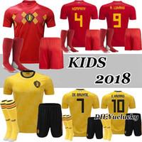 Wholesale youth football jersey black - 2018 World Cup Belgium Kids Kits Soccer Jersey Full Sets LUKAKU FELLAINI E.HAZARD KOMPANY DE BRUYNE Boys Child Youth football shirts