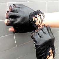 Wholesale sexy leather women costumes online - Women Black Half Finger Genuine Leather Gloves Soft Sheepskin Trim Sexy Gloves Ladies Dance Costume Lace Mittens ly aa