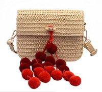 ingrosso tote di paglia colore-Borse da viaggio estive Coprire la borsa a forma di cesto per il tempo libero Pallina colorata a forma di palla da spiaggia per le donne Borse a tracolla fatte a mano