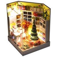 kutu dollhouse toptan satış-IIECREATE DIY Ahşap Bebek Evi Odası Kutusu El Yapımı 3D Minyatür Dollhouse Ahşap Eğitici Oyuncaklar Kız Hediyeler Merry Christmas Günü