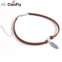 Wholesale faux suede necklace - AE-CANFLY Fashion Faux Suede Leather Choker Necklace Vintage Feather Pendant Neck Jewelry 1L1006