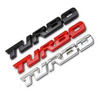 etiqueta engomada de la insignia de turbo al por mayor-3D Car Styling Sticker Metal TURBO Emblema Cuerpo Trasera Puerta Trasera Insignia Auto Accesorios Extraíble Etiqueta Engomada Del Coche