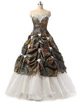 balo elbisesi kabarcık elbiseleri toptan satış-2019 Camo Quinceanera elbise Balo Sevgiliye Pick Up Fildişi Dantel Ve Organze Örgün Törenlerinde ile Kabarık Camo Debutante Abiye