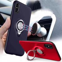 suporte de folhas venda por atacado-Para o iphone xr xs max casos de telefone armadura dupla camada com folha de ferro anel magnético suporte do carro suporte magnético anel casos