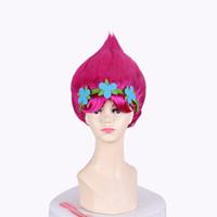 bebek şapkası perukları toptan satış-Yeni !! Trolls Parti Kız Bebek Çiçek Karikatür Kız Haşhaş Peruk Toddler Copyplay Troll Parti Süslemeleri Malzemeleri Saç Şapka Ço ...